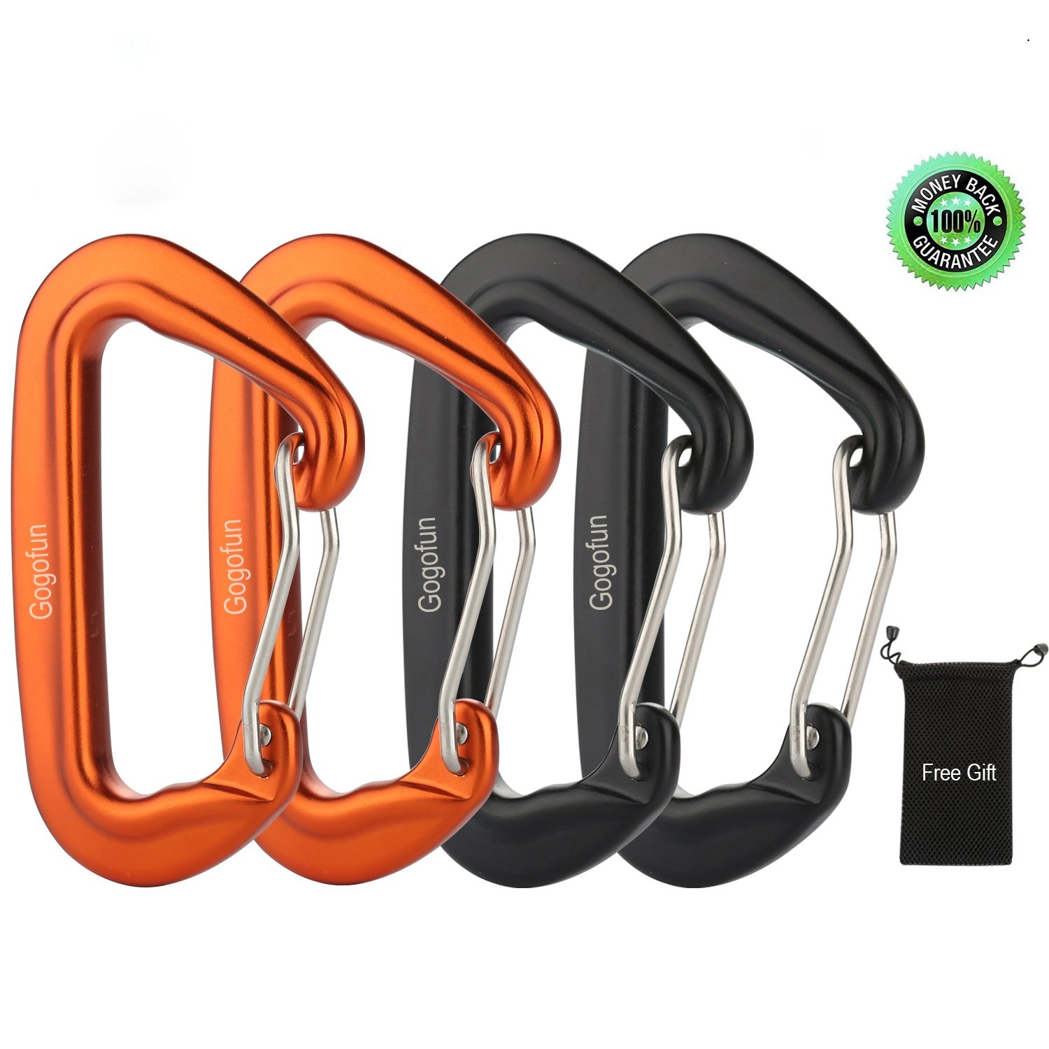 Aluminum Carabiner 24KN Heavy Duty Carabiner Rated 5395 lbs D Shape Lightweight Aircraft Grade 7075 Aluminum Material Snag Free Clip Keychain for Hammock Swing Chair Camping Fishing (24KN 4 Pack)