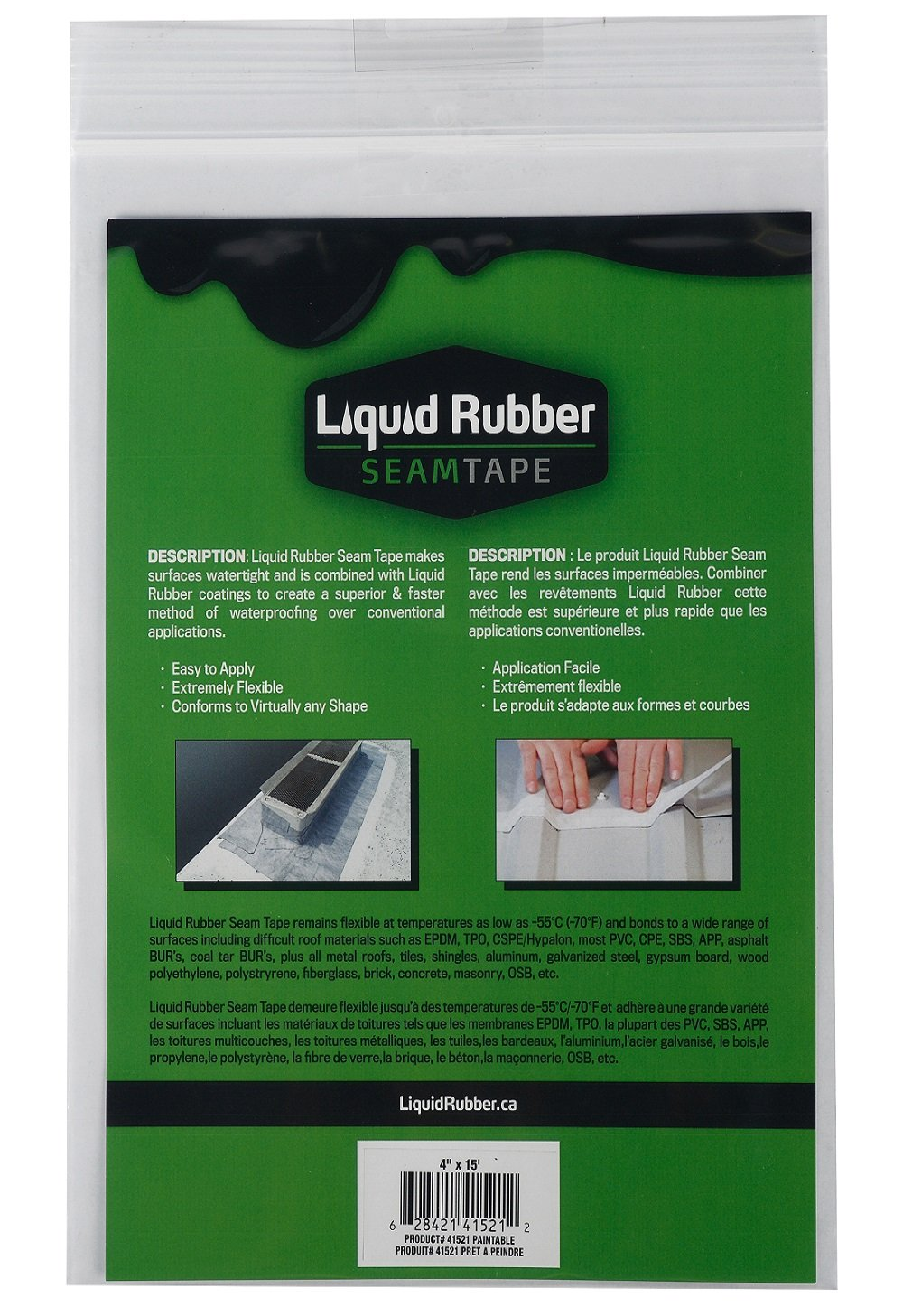 Liquid Rubber Seam Tape - Fix Leaks - For Repairs and Restoration - Easy to Use - Polyester Top to Accept Liquid Rubber Coatings - RV Roofs, Metal Roofs, Gutters... - TOP SELLER - 4'' x 15'