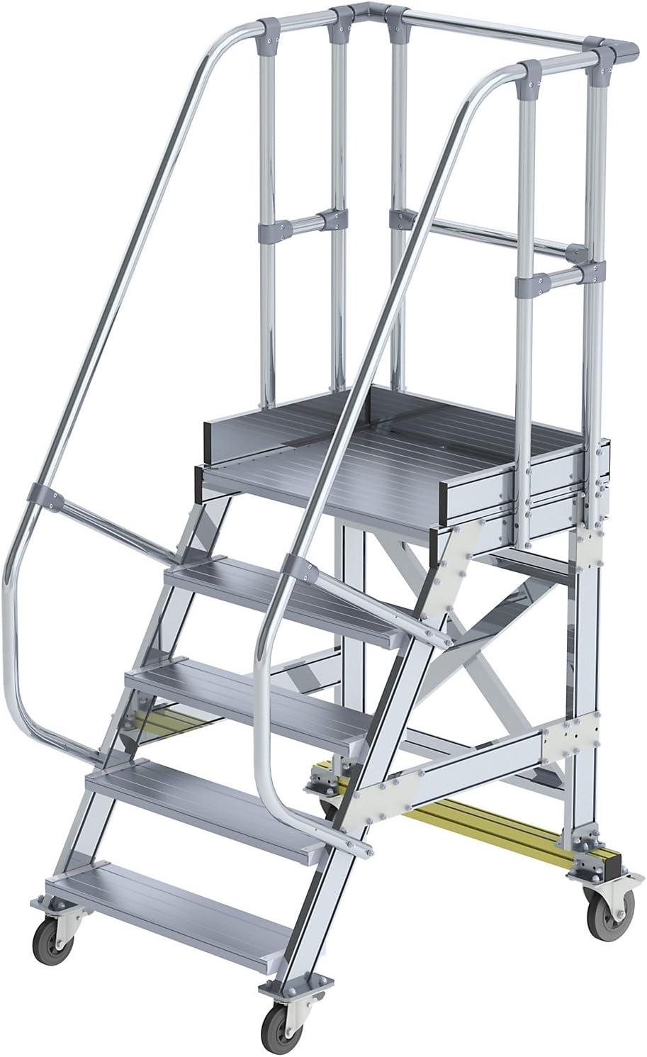 GÜNZBURGER STEIGTECHNIK Escalera de plataforma de aluminio móvil 60° 5 peldaños: Amazon.es: Bricolaje y herramientas