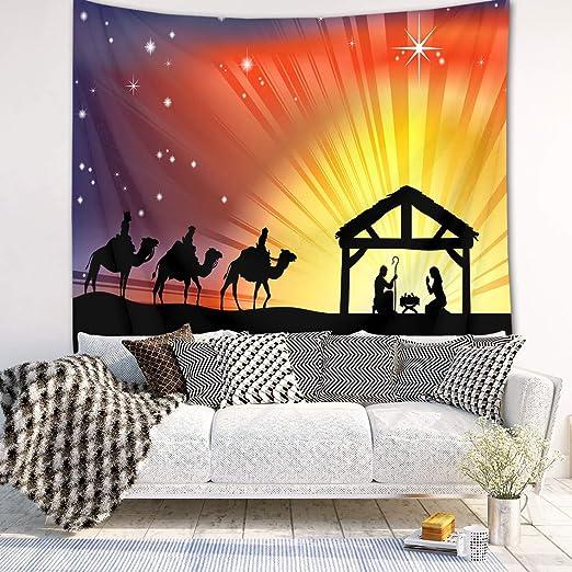 LB Natividad de Jesus Tapiz Pared 150x130cm Tres Reyes Magos,Noche Santa,Pesebre Tapiz Colgar Pared para Sala Habitación Residencia Universitaria Decoración Pared,Partido Antecedentes: Amazon.es: Hogar