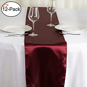 Tiger Chef 12-Pack Burgundy 12 x 108 inches Long Satin Table Runner for Wedding, Table Runners fit Rectange and Round Table Decorations for Birthday Parties, Banquets, Graduations,