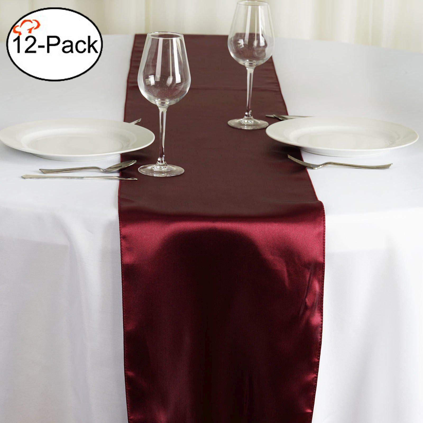 Tiger Chef 12-Pack Burgundy 12 x 108 inches Long Satin Table Runner for Wedding, Table Runners fit Rectange and Round Table Decorations for Birthday Parties, Banquets, Graduations, by Tiger Chef