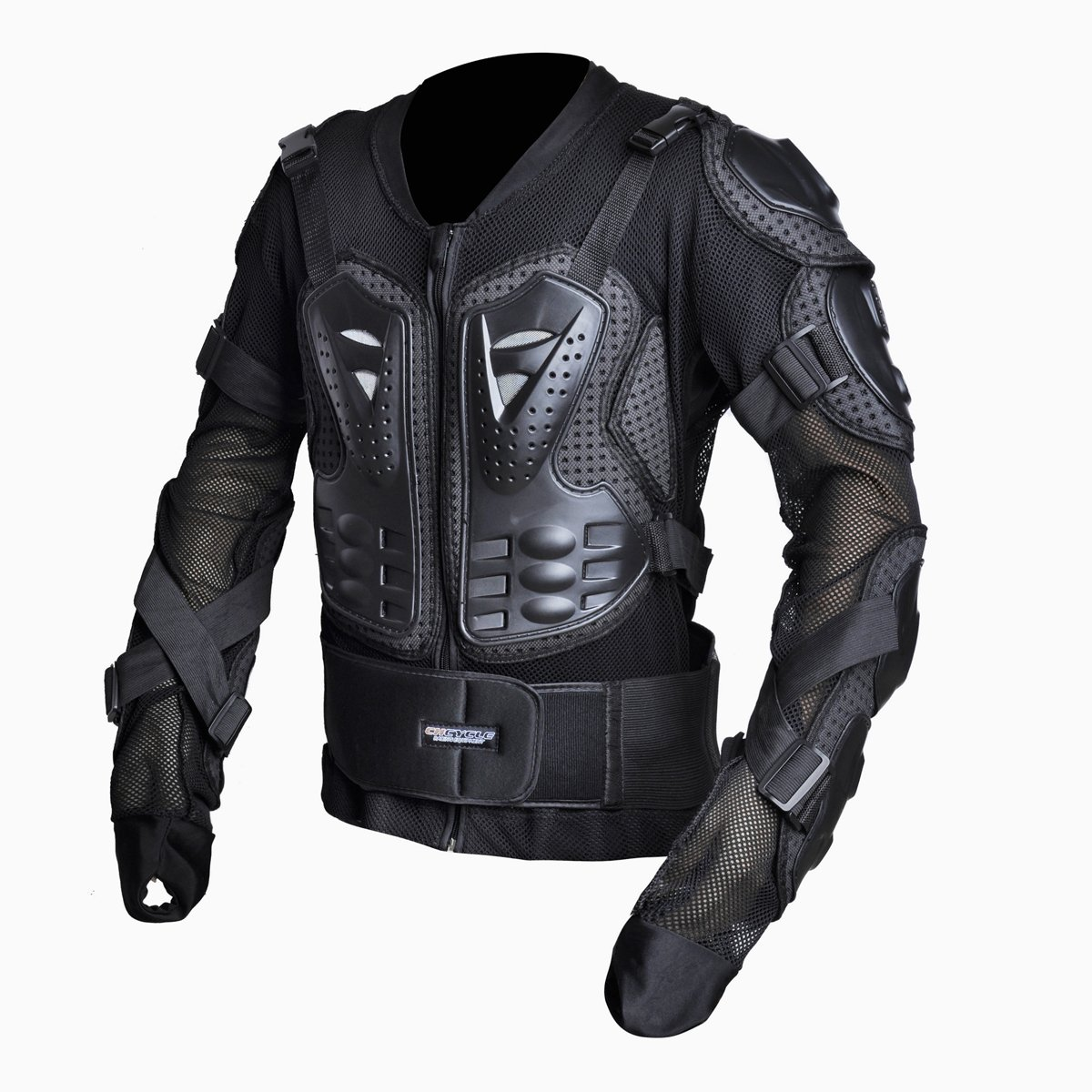 CHCYCLE Motorcycle Full Body Armor Motocross ATV Motorbike Jacket Protector (Large, Black)