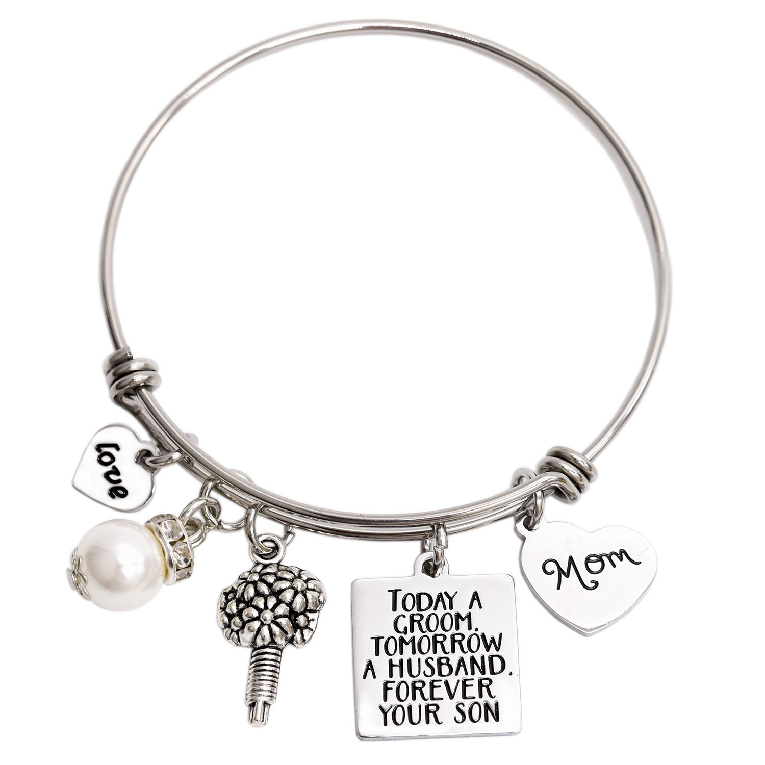 Mother of The Groom Gift Bracelet Today a Groom Tomorrow a Husband Forever Your Son Bangle Bracelets