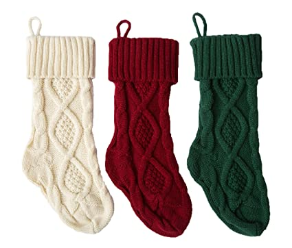 Cable Knit Christmas Stockings.Sherrydc Crochet Cable Knit Christmas Stockings 15 Hanging Socks For Christmas Decorations Set Of 3