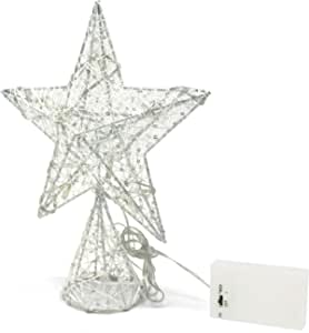 CVHOMEDECO. White Tree Top Star with Warm White LED Lights and Timer for Christmas Ornaments and Holiday Seasonal Décor, 8-Inch