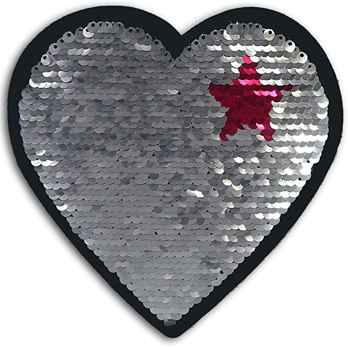 """1 1//2/"""" x 1 3//4/"""" Pink Fuchsia Peace Heart Embroidery patch"""