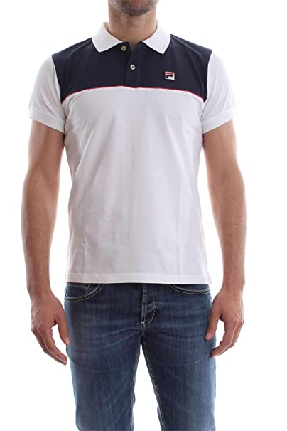 Fila 32019 POLO STRETCH POLO Uomo WHITE BLUE M: Amazon.it ...