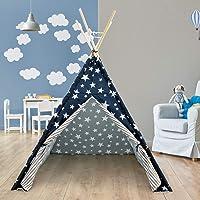 ECD Germany Teepee Indisk stil tält för barn utomhus inomhus bärbar wigwam lekstuga – blå- med förvaringsväska och…