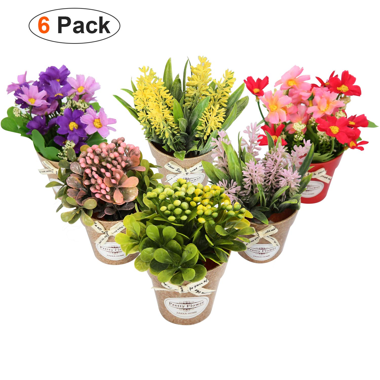 LUEUR Set of 6 Potted Artificial Flowers Fake Lavender Flowers in Pots Faux Flowers in Pot for Home Office Decoration Desktop Decor