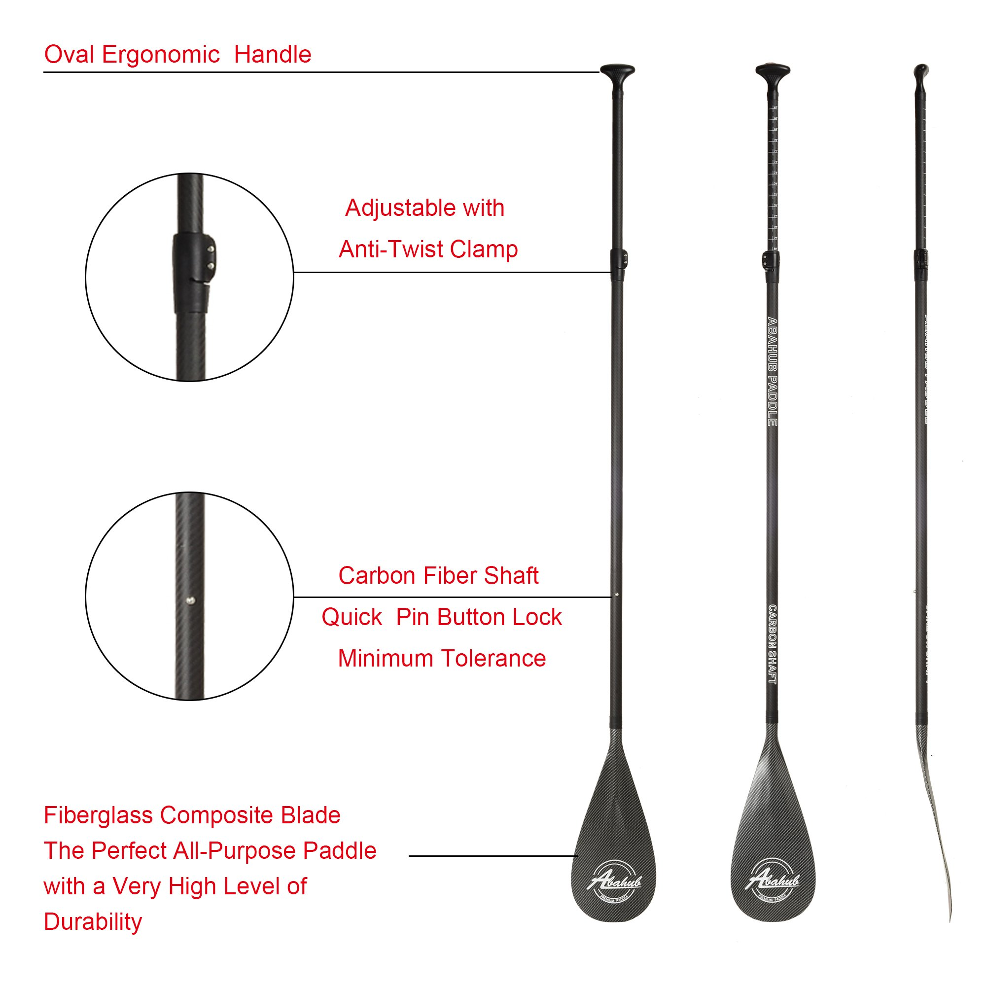 ABAHUB 3-Piece Adjustable Carbon Fiber SUP Paddle Carbon Shaft Carbon Print Plastic Blade + Bag by ABAHUB (Image #5)