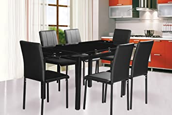 Dining Table and 6 chairs Extending dining table in Black Glass Top ...