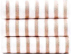 """JML Microfiber Pool Towels, Beach Towel Set (3Pack, 27"""" x 55"""") - Cabana Stripe - Multi Purpose Quick Dry Towels for Bath, Sport, Yoga, Camping, Swimming, Pink"""