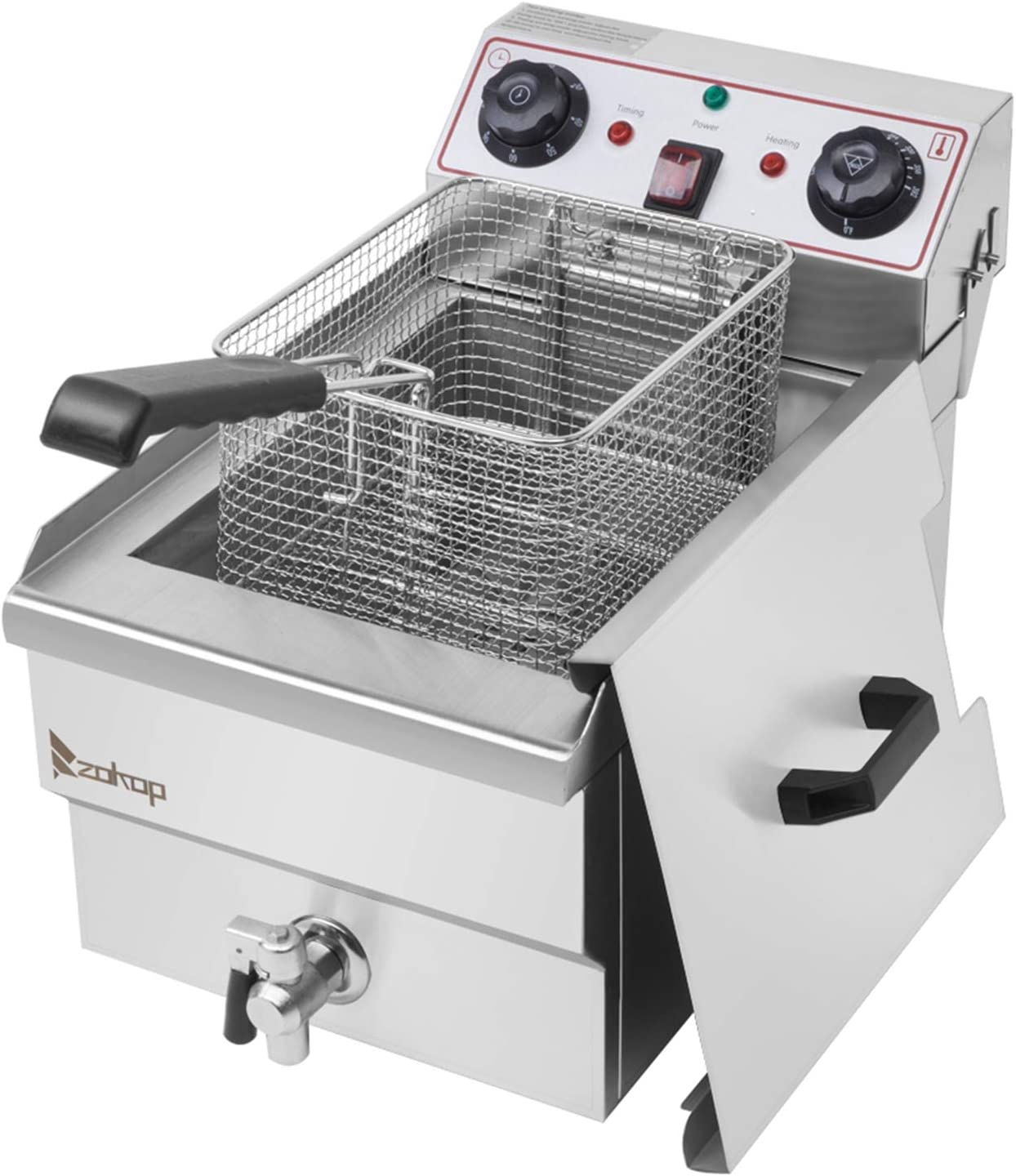 Deep Fryers, 8.5QT/8L Fry Max Large Capacity Removable Basket Single Tank Deep Fryer 60-Minute Timers Oil Filtration Electric Deep Fryer with Large Handle and Lid Cover for Commercial Use