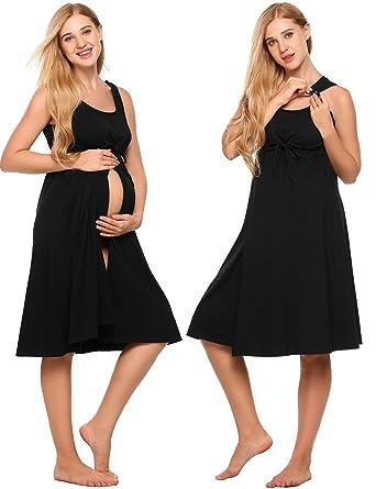 c29b860f7942d Ekouaer Labor Nightgown For Women, Cotton Short Breastfeeding Delivery Dress ,Black,X-