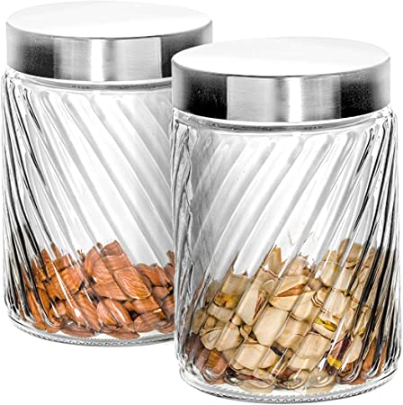 Klikel Glass Canister - Set of 2 Kitchen Containers With Lids - Tight Seal  For Flour Sugar Pasta Cereal - Capacity 24oz / 700ml 4 1/4 Inch Diam X 4 ...