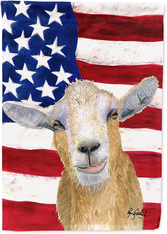 Carolines Treasures RDR3028CHF USA American Goat Flag Canvas House Size