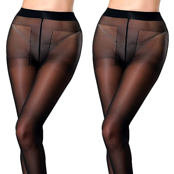 42f5b3403 MERYLURE 2 Pairs Semi Sheer Pantyhose Sexy T Crotch Control Top Tights  Hosiery (A