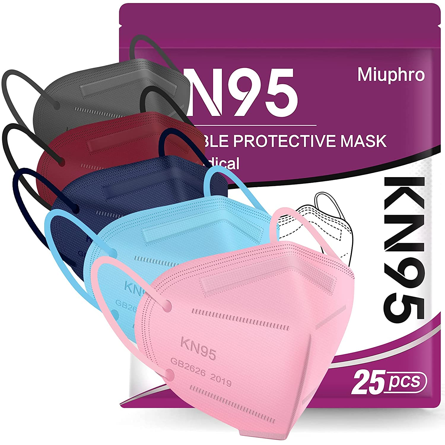 KN95 Face Mask - 25 Pack KN95 Disposable Masks, 5-Ply Protection Cup Dust Mask Efficiency≥95% Against PM2.5 Dust Pollen and Haze-Proof Multicolor