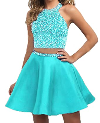 f8af0dc66e BessDress Halter Beaded Two Piece Homecoming Dresses Satin Short Formal  Party Ball BD303