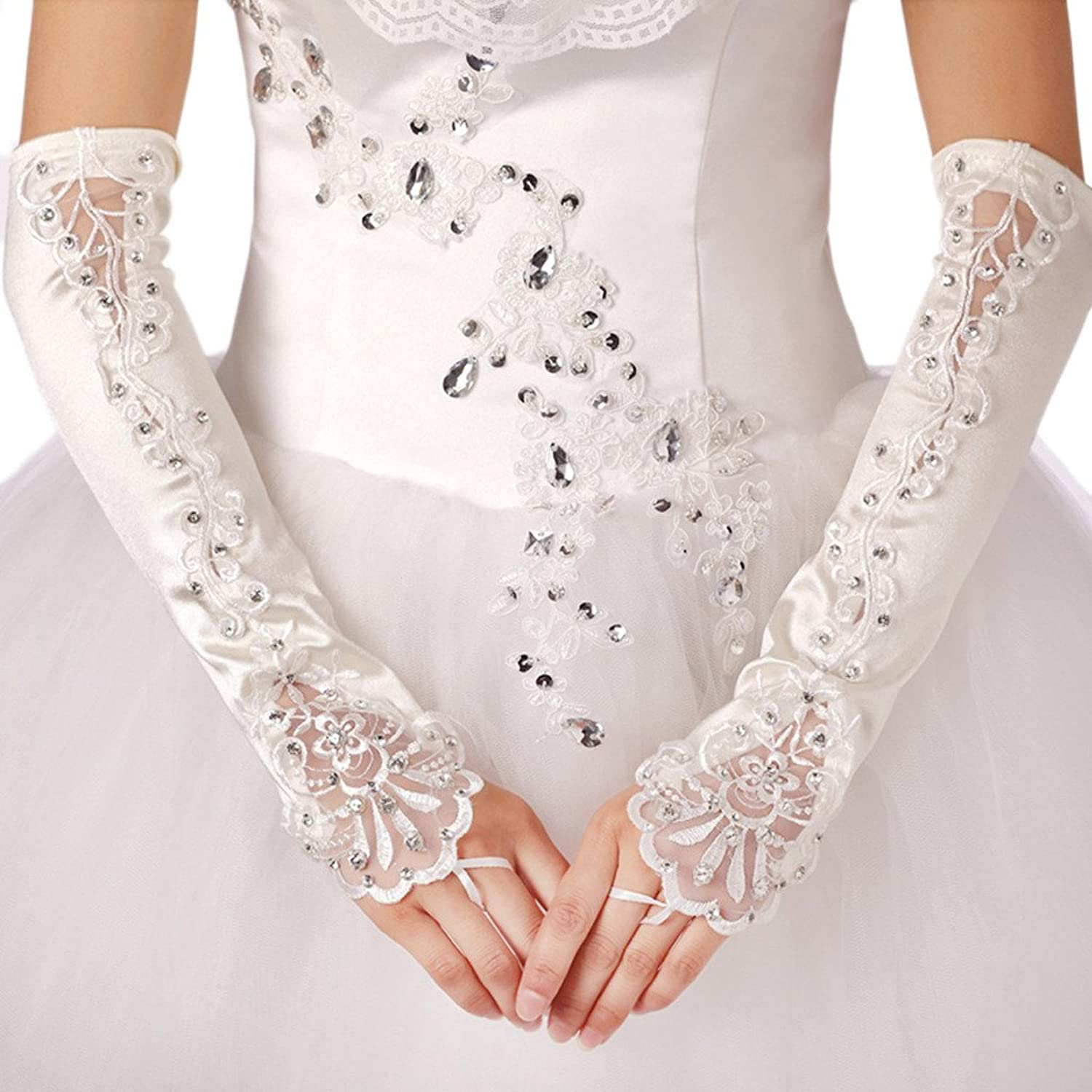 Vimans Women's 2016 White Fingerless Lace Bridal Gloves for Wedding with Beads