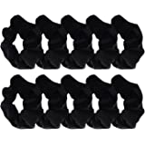 Mudder 10 Pack Black Velvet Scrunchie Hair Elastics Hair Bobbles Hair Bands
