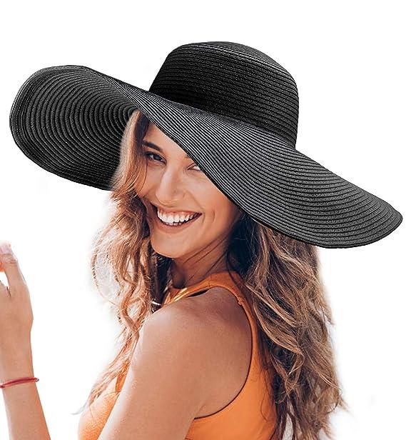 b7a8f96f Dafunna Women Floppy Straw Hat Wide Brim Beach Sun Hat with Adjustable  Drawstring (Black.