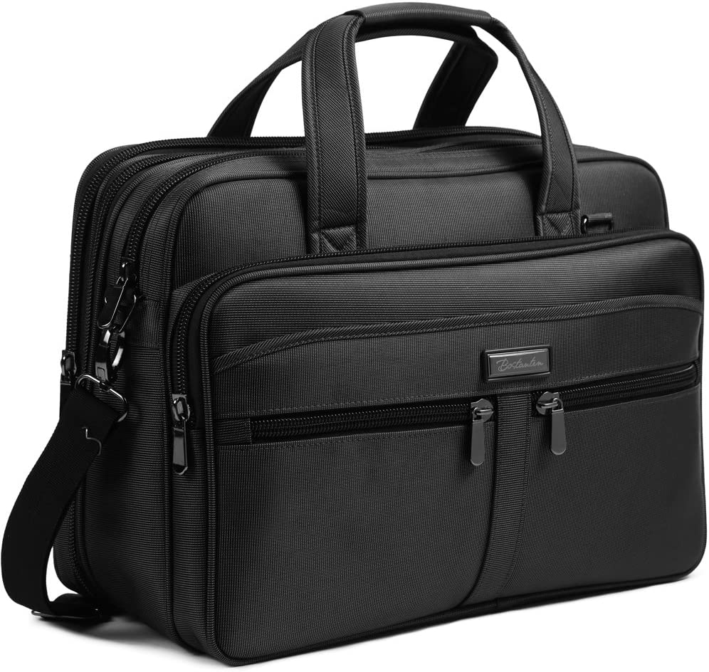 BOSTANTEN 17 inch Laptop Bag Case Expandable Briefcases for men Computer Water Resisatant Business Messenger Shoulder Bag