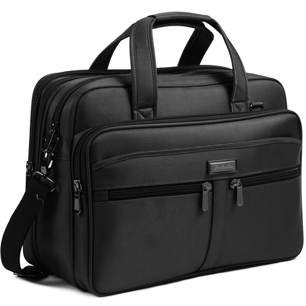 BOSTANTEN 17 inch Laptop Bag Case Expandable Briefcases for men Hybrid Computer Water Resisatant Business Messenger Shoulder Bag