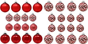 Sleetly Red Christmas Ornaments Bundle Pack of 32