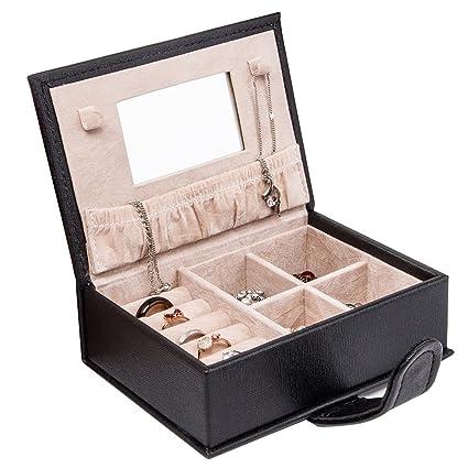 Amazoncom Mini Jewelry Box Faux Leather Small Travel Jewelry