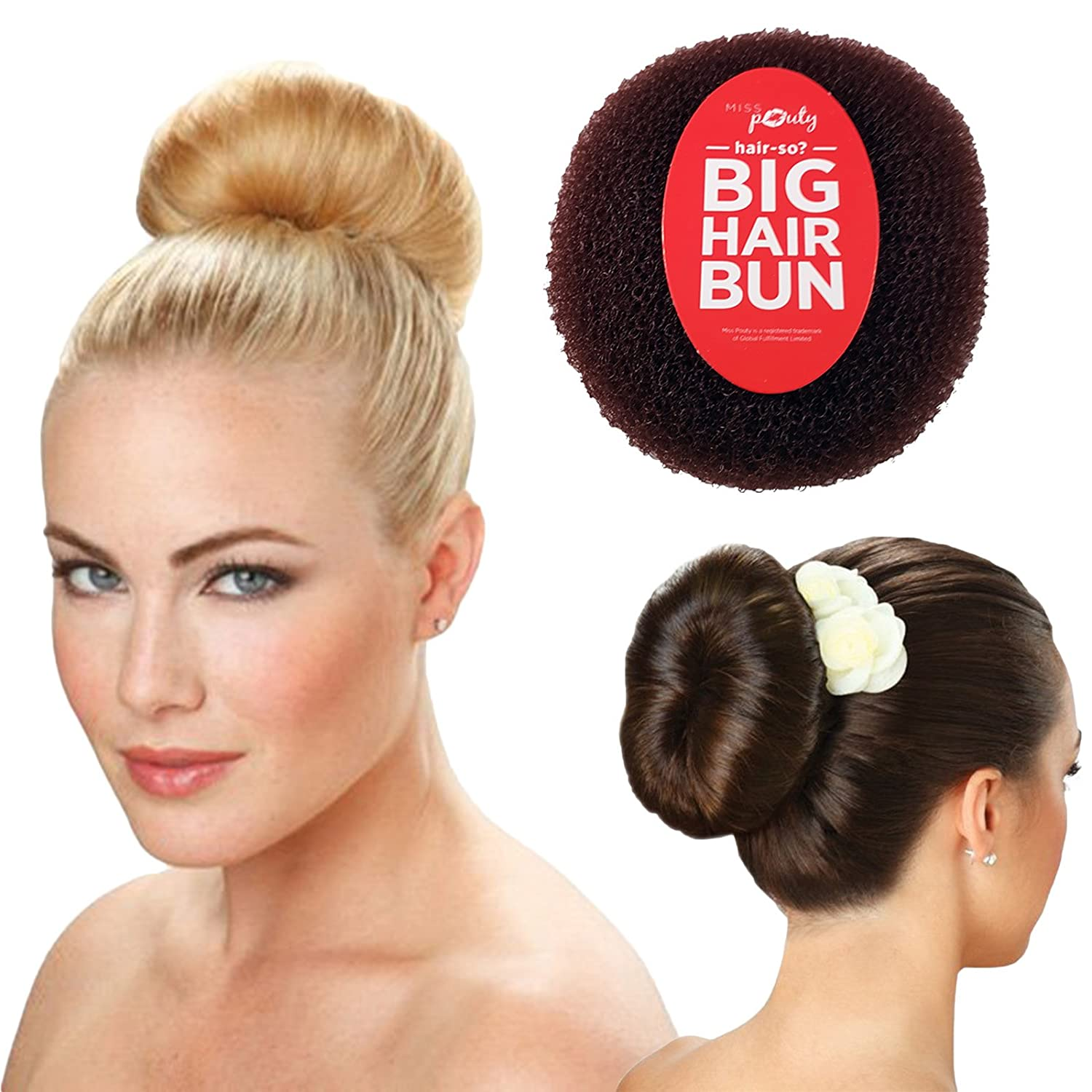 Hair-so? Massive 6 Inches Wide Big Hair Bun Extra Large Hair Doughnut Donut Bridal Wedding Hollywood Hair Style Bun Ring - Choose Colour- Brown, Black or Blonde (Brown) Miss Pouty