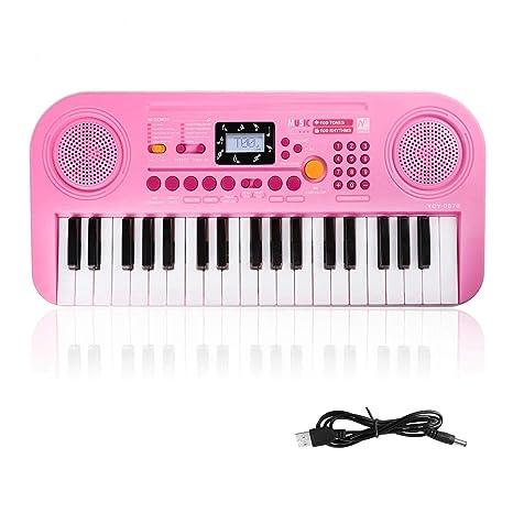 Piano Infantil, 37 Teclas Piano Teclado Infantil Juguete, Pantalla LCD de Altavoces Dobles,