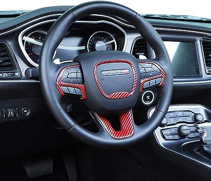 JeCar Dashboard Navigation Panel Decoration Cover Interior Trim Kit for Dodge Charger 2015-2020 Red Carbon Fiber Texture