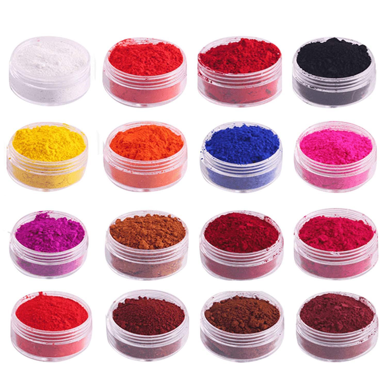 Mica Powder, Soap Making Kit Pigment Powder Set 16PCS Natural Color Makeup Dye Set for Soap Candle Making Nails Bath Bombs Lipstick Eye Shadow Gosear
