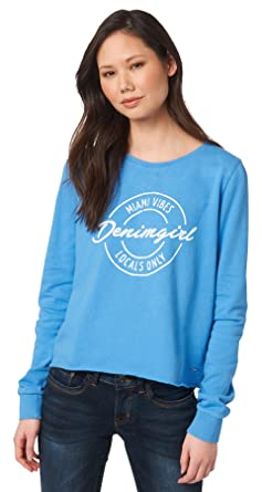 47fbfe5e9f89 TOM TAILOR Denim Ladies Print in Used Look Sweat Damen Pullover Blau ...