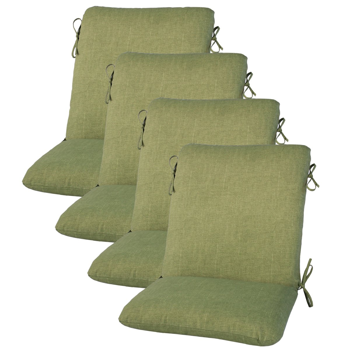 Set of 4 Outdoor Dining Chair Cushion 20'' x 38'' x 3'' in Polyester Fabric Leaf by Comfort Classics Inc.