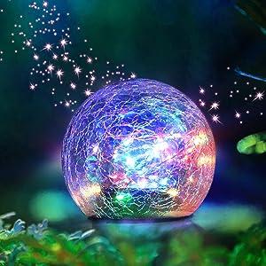 Garden Solar Lights Gazing Balls Outdoor Decorative Waterproof Multicolor LED Glass Globe for Lawn Patio Yard (3.9inch)