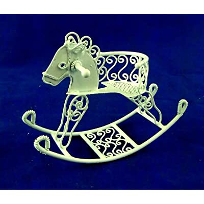 Vanity Fair Dolls House Miniature Nursery Toy White Wire Wrought Iron Sit On Rocking Horse: Toys & Games