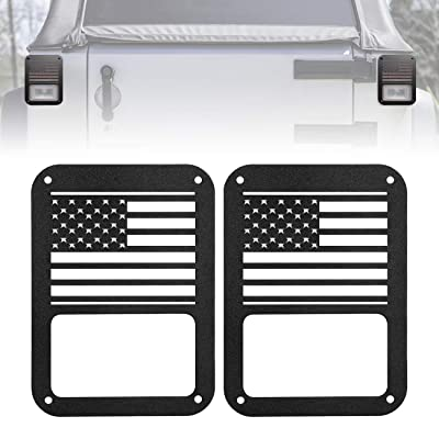 ICARS USA Flag Rear Tail Lamp Light Cover Trim Guards Protector Jeep Wrangler Accessories Sport X Sahara Unlimited Rubicon 2007-2020 - Pair: Automotive
