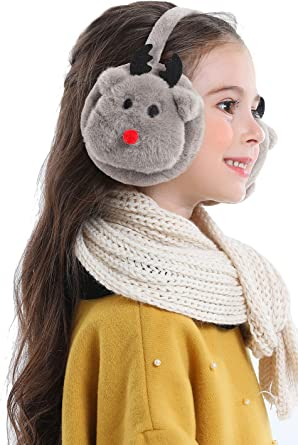 Lovful Girls Cartoon Deer Warm Earmuffs Children Cute Winter Ear Warmers Adjustable Ear Cover