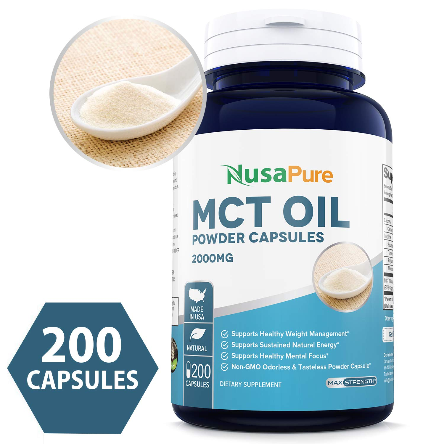 MCT 2000 mg 200 Powder Caps (Non-GMO & Gluten Free) Keto, Ketosis and Ketogenic & Paleo Diet Friendly, Boost Ketone Production and Supply Clean Energy by NusaPure