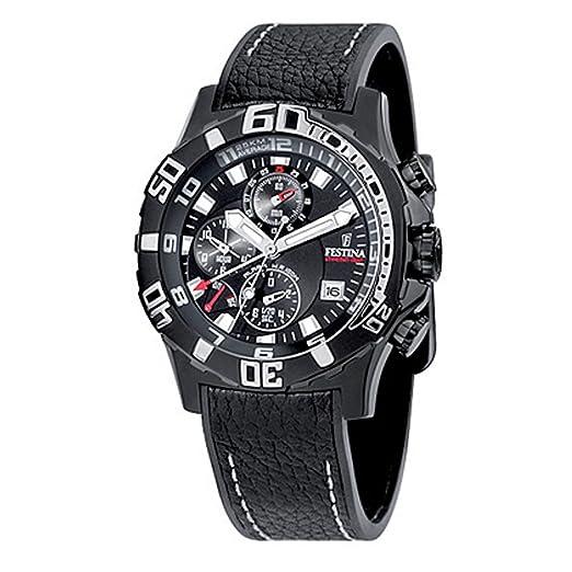 Festina F16289/2 - Reloj cronógrafo de cuarzo para hombre con correa de piel, color negro: Festina: Amazon.es: Relojes