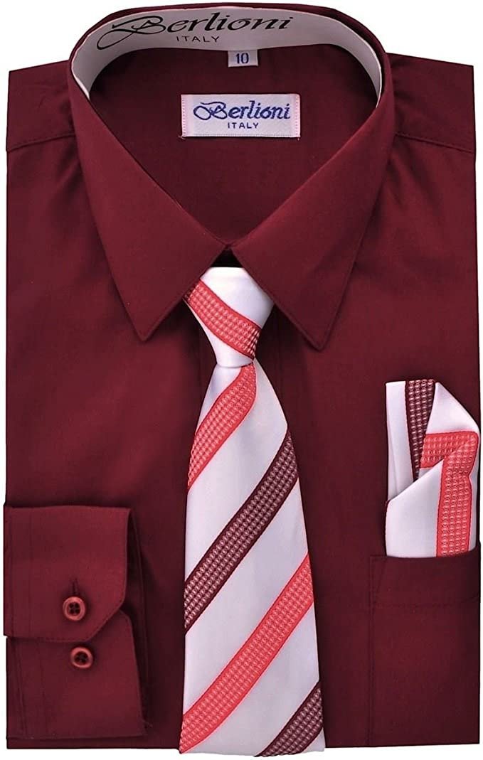 Berlioni Italy Kids Boys Dress Shirt with Tie /& Hanky Long Sleeves Red