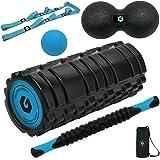 Foam Roller Set Includes High Density Foam Roller Muscle Roller StickStrap Lacrosse Ball and Medium Density Peanut Roller For Self Massage Yoga Crossfit and Mobilty WOD