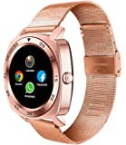 All-in-1 Smart Watch Round IPS Screen Bluetooth 4.0 call phone smartwatches with sim card removable Metar band Camera Pedometer Activity Tracker For iphone IOS Samsung LG Android Phones man (Gold)