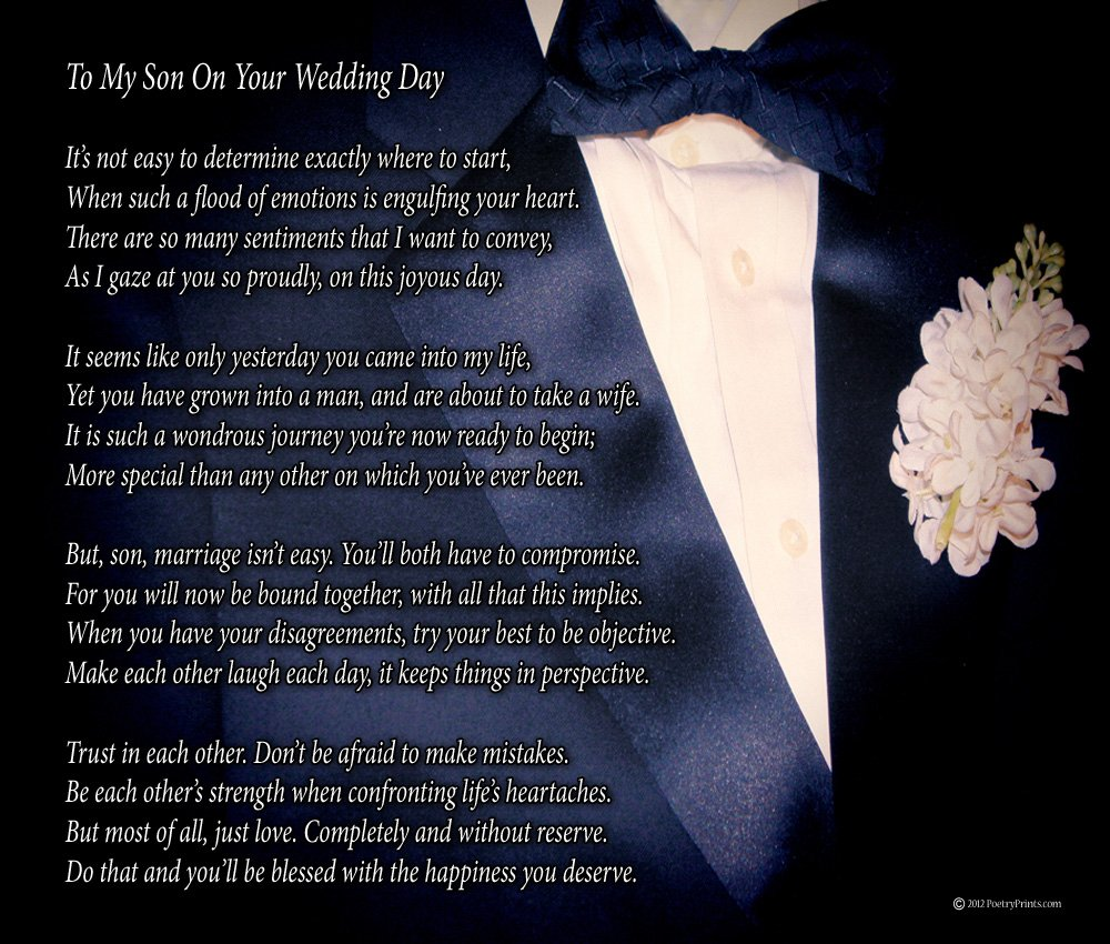 Amazon Com To My Son On Your Wedding Day One Parent Poem