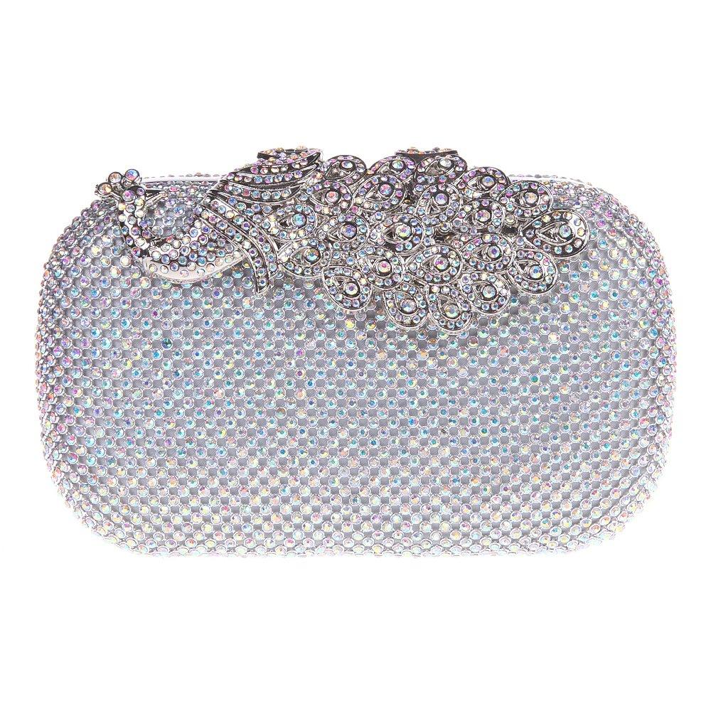 Amazon.com  Fawziya Bling Peacock Clutch Purse Rhinestones Crystal Evening  Clutch Bags-ABSilver  Shoes 1395a249dced8