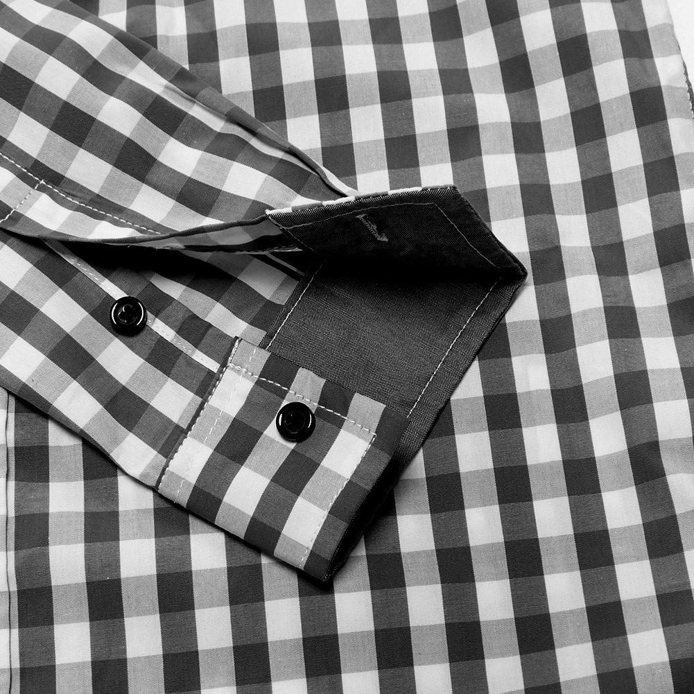 Musen Men Cotton Plaid Long Sleeve Button Down Casual Dress Shirts