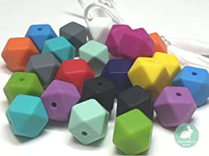 14mm Mini-Hexagon Silicone Beads - Jewelry Necklace Bracelet Making Kit - Food Grade BPA Free Arts and Crafts Supplies (25PC Mini-Hexagon)